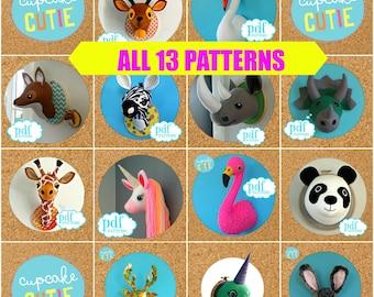 Pattern Deal. All 13 Faux taxidermy patterns Giraffe, Flamingo, Panda, Swan, Zebra, Unicorn, Rhino, Narwhal, Dinosaur, Deer, Fox, Stag Bunny