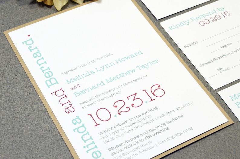 Modern Wedding Invitation Suite Typewriter Wedding Invites Etsy
