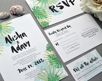 Tropical Wedding Invitations, Watercolor Wedding Pocket Invite Set, Destination Wedding Invitation Suite, Beach Wedding Invites Teal Green