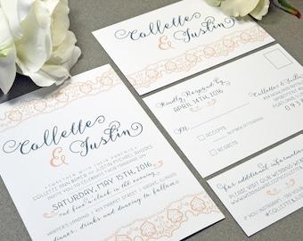 Rustic Lace Wedding Invitations Peach and Gray Pocket Invitation Modern Wedding Invitation Suite Calligraphy Wedding Invites Romantic Invite