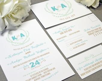 Laurel Monogram Wedding Invitations Turquoise and Mint Wedding Pocket Invite Leaf Wedding Invitation Suite Rustic Wedding Invites Outdoor