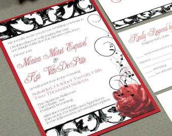 Hollywood Wedding Invitation Set, Red Wedding Invitation Hollywood, Rose Wedding Invitation, Music Note Wedding, Red and Black Wedding