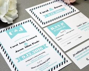 Stripe Banner Wedding Invitations Modern Wedding Invite Set Teal and Black Pocket Invitation Striped Wedding Invitation Suite Retro Wedding