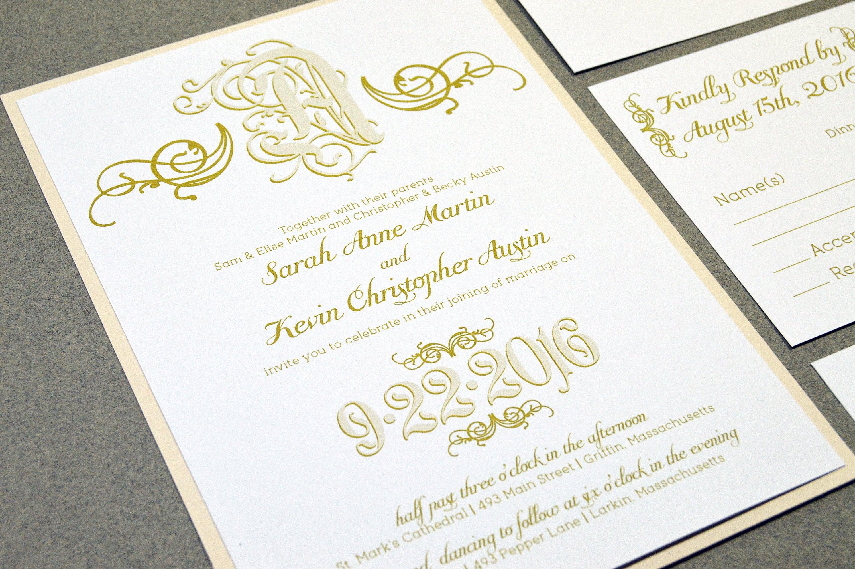 Calligraphy Wedding Invitations: Calligraphy Wedding Invitation Suite Monogram Wedding