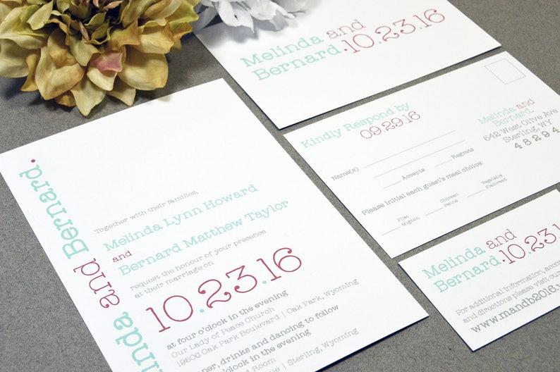 Typewriter Wedding Invitations Modern Pocket Suite Typography Etsy