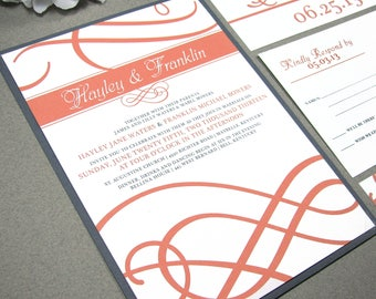 Coral and Gray Wedding Invitations Classic Wedding Invitation Suite Elegant Calligraphy Wedding Invites Swirl Invitations Simple Wedding