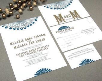 Art Deco Wedding Invitations, Roaring Twenties Wedding Invitation Suite, Sunburst Wedding Invite Pocket Set, Navy and Gold Wedding Invites