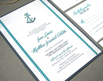 Beach Wedding Invitations, Nautical Wedding Invite Suite, Anchor Wedding Pocket Invitation Set, Gray and Teal Wedding Invites Striped
