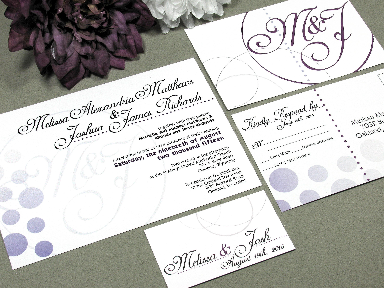 Ombre Wedding Invitation: Monogram Wedding Invitations Ombre Dots Invite Calligraphy
