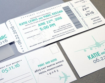 Boarding Pass Wedding Invitations Plane Ticket Invite Set Aqua and Gray Pocket Folder Suite Destination Wedding Invitation Modern Invites