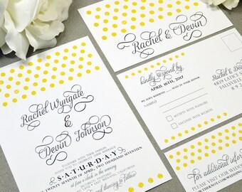 Polka Dot Wedding Invitations Yellow and Gray Wedding Pocket Set Calligraphy Wedding Invitation Suite Modern Wedding Invites Rustic Wedding