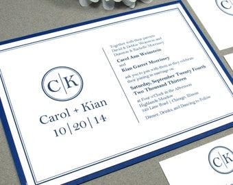 Monogram Wedding Invitations, Simple Wedding Invites, Modern Pocket Folder Suite Belly Band, Navy Wedding Invitation, Minimalist Wedding