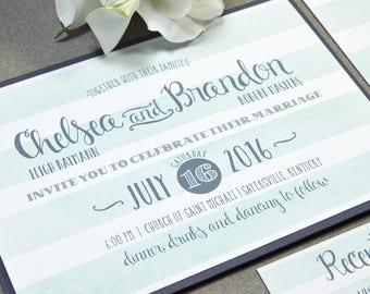 Rustic Wedding Invitation Suite - Watercolor Wedding Pocket Folder Bellyband - Striped Wedding Invitations - Gray and Mint Wedding Invites
