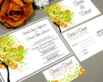 Dotted Tree Wedding Invitations, Spring Wedding Invites, Yellow and Orange Wedding Invitation Suite, Fall Wedding Pocket Invite Set Modern