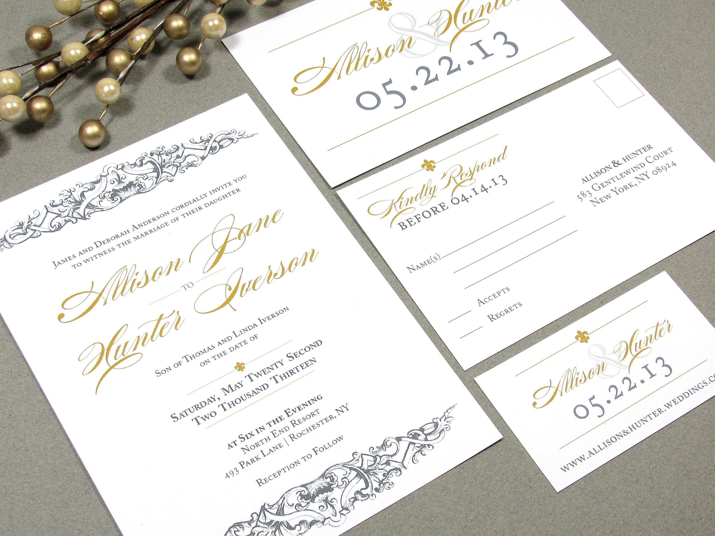 Baroque Wedding Invitations: French Baroque Wedding Invitation Suite Fleur De Lis