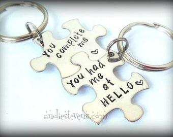 Personalized Couples Keychain Set - Puzzle Piece Keychains - Hand Stamped  Customized - You Complete Me - You Had Me At Hello b2b2811b4e