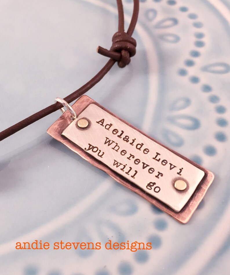 Personalized Tag Necklace  Rustic Boho Jewelry  Copper image 0