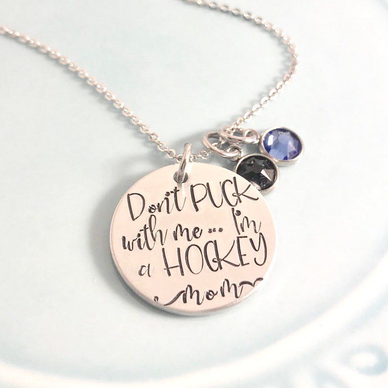 Hockey Mom Necklace  Dont Puck With Me Team Spiritwear  image 0
