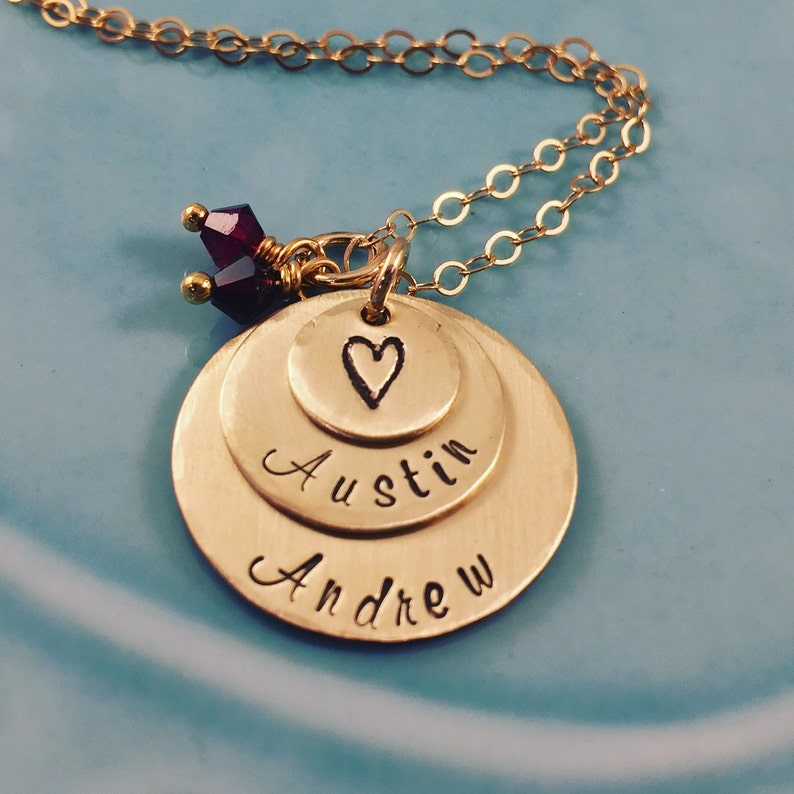 Gold Necklace Personalized  Hand Stamped Mom Jewelry  Kids image 0