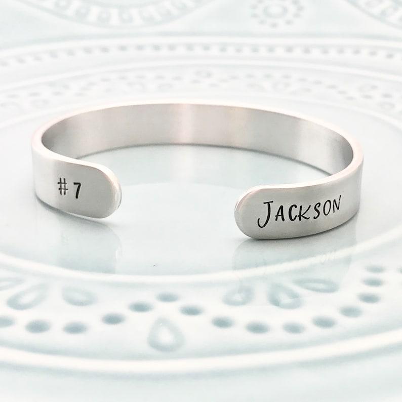 Unisex Basketball Cuff Bracelet Personalized Jewelry Team Jewelry Basketball Mom Bracelet Handstamped Bracelet Cuff