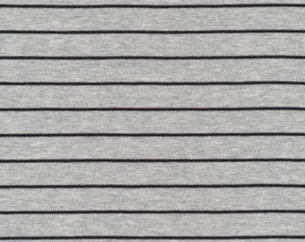 Organic KNIT Fabric - Cloud9 Knits - Stripes Heather Gray