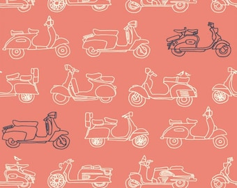 Organic KNIT Fabric - Birch Trans-Pacific Knits - Mopeds Coral Knit