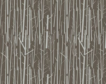 Organic KNIT Fabric - Charley Harper Western Birds - Perch Bark Knit