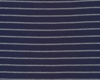 Organic Knit Fabric - Cloud9 Knits -  Stripes Blue/Heather Gray