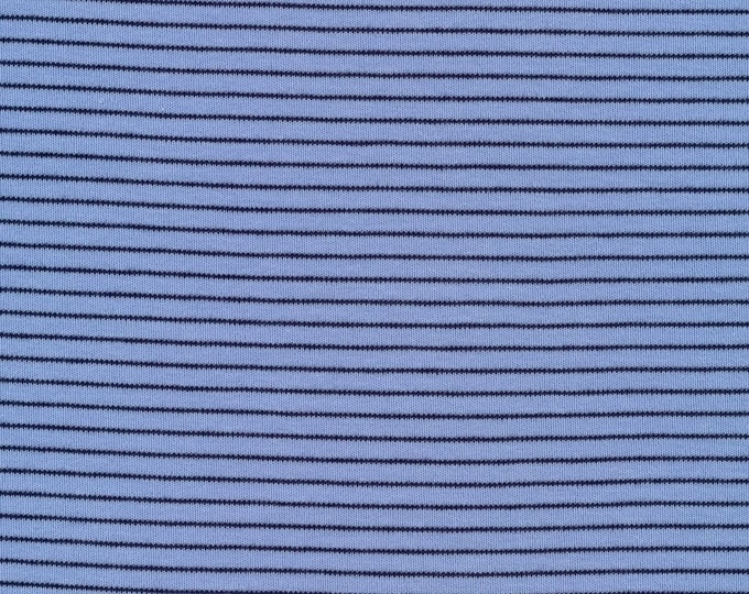 Featured listing image: Organic Knit Fabric - Cloud9 Knits - Little Stripes Blue