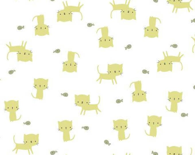 Organic KNIT Fabric - Cloud9 Tout Petit - Little Kittens White