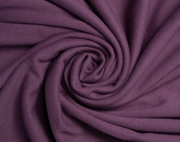 Organic KNIT Fabric - Birch Interlock Knit Soilds - Raisin Solid