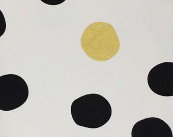 Organic KNIT Fabric - Birch Inkwell Knit - Shift Dot in Black/Metallic Knit