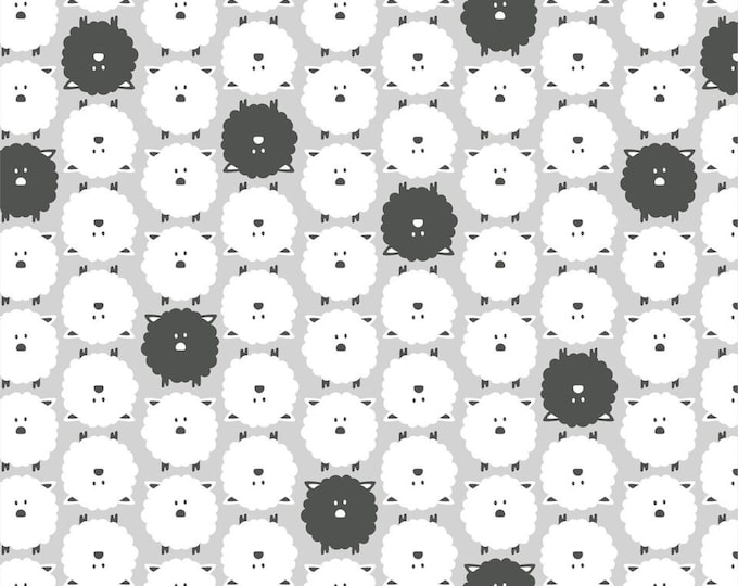 Organic FLANNEL Fabric - Cloud9 Dolittles Flannel - Sheep