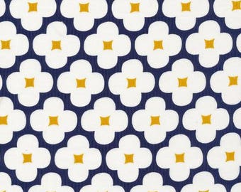 Organic CORDUROY Fabric - Cloud9 Spring Quartet - Floret Dark Navy