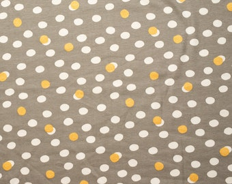 Organic KNIT Fabric - Birch Tonoshi Knit - Mochi Dot Shroom Metallic Gold Interlock Knit - 58 inches wide!
