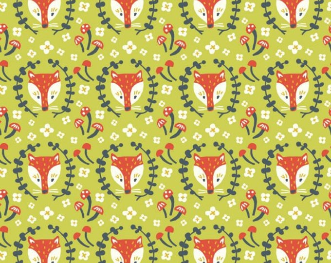 Organic KNIT Fabric - Birch Folkland Knit - Foxy in Grass Knit