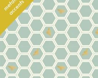 Organic KNIT Fabric - Birch Mod Nouveau Knit - Honeycomb in Mint Knit