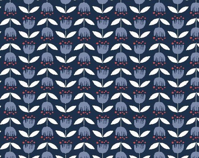 Organic Canvas Fabric - Monaluna Simple Life Canvas - Blue Tulip Canvas
