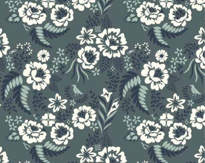 Organic Canvas Fabric - Birch Merryweather Canvas- Merry Floral in Slate Canvas