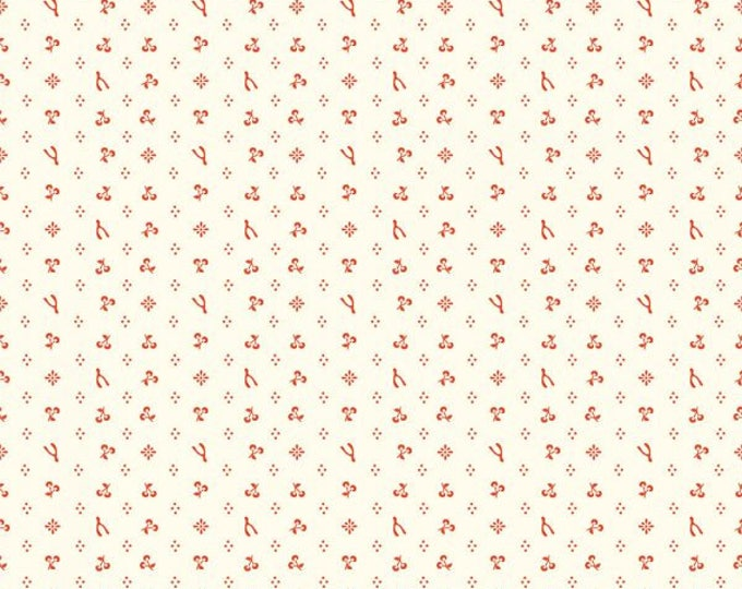 Organic KNIT Fabric - Birch Merryweather - Merrythought in Cream/Red Knit