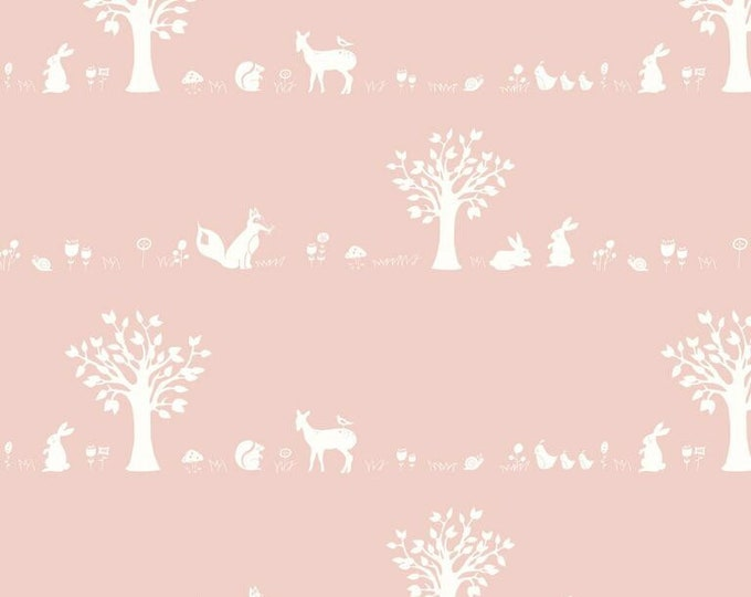 Organic KNIT Fabric - Birch Storyboek - Forest Friends Blush Knit