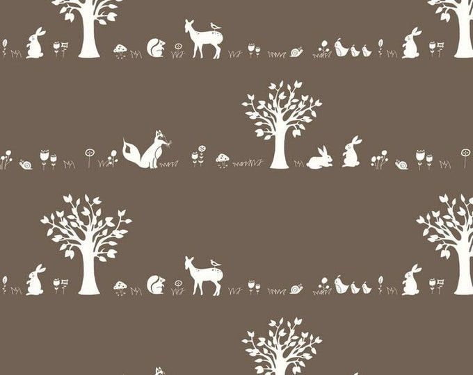 Organic KNIT Fabric - Birch Storyboek - Forest Friends Brown Knit