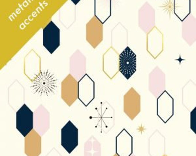 Organic KNIT Fabric - Birch Mod Nouveau Knit - Oblong Hex Knit