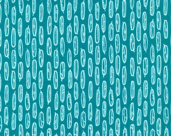 Organic Cotton Fabric - Cloud9 Fabrics Yoyogi Park - Feather Leaf Teal