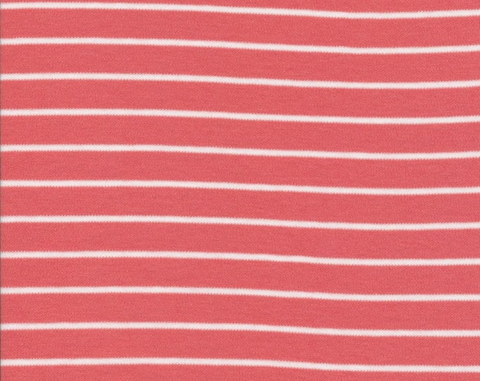 Organic Knit Fabric - Cloud9 Knits -  Stripes Red/White - Coral and White