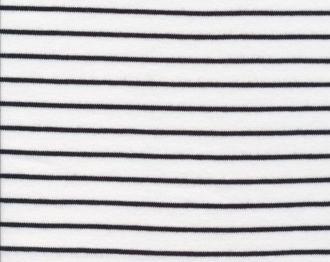 Featured listing image: Organic Knit Fabric - Cloud9 Knits -  Stripes White/Black