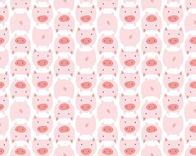 Organic FLANNEL Fabric - Cloud9 Dolittles Flannel - Pig