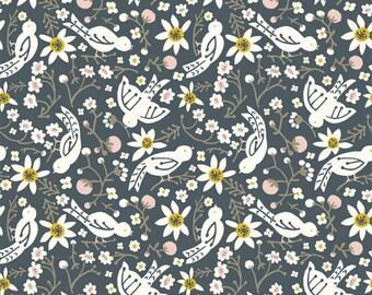 Organic KNIT Fabric - Birch Folkland Knit -Sweet Tweet in Dusk Knit