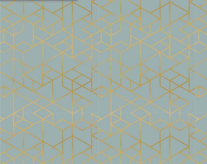 Birch Organic Jersey Knit - Geo Path Mineral - Metallic Gold Jersey