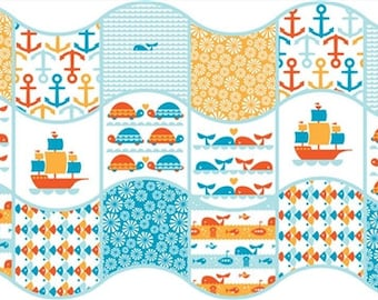 Organic Cotton Fabric - Birch Marine Too Waves Patch